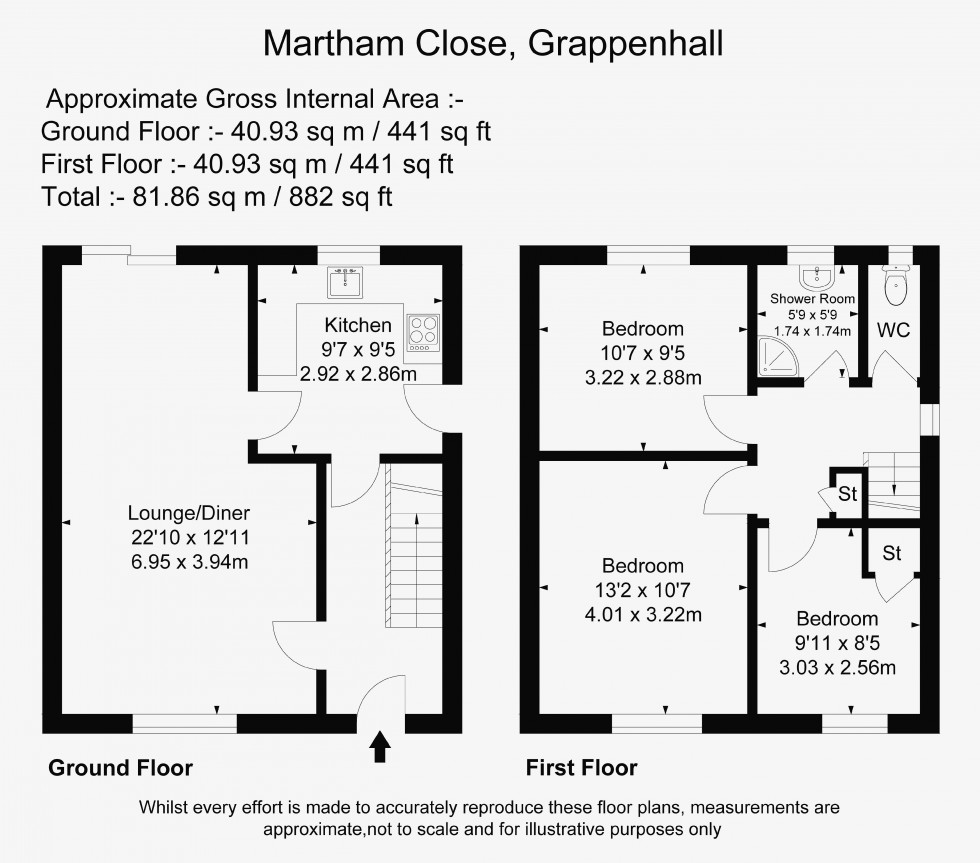 Floorplan for Martham Close, Grappenhall